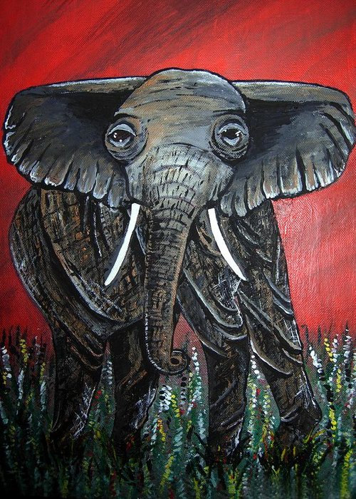 Elephant Greeting Card featuring the painting A Crimson Kind Of Day by Sharon Supplee