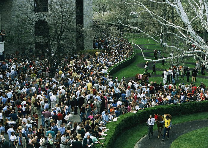 North America Greeting Card featuring the photograph A Crowd Gathers Around Keenelands by Melissa Farlow