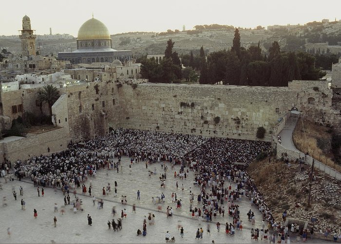 Israel Greeting Card featuring the photograph A Crowd Gathers Before The Wailing Wall by James L. Stanfield