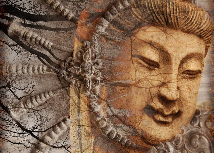 Guan Yin Greeting Card featuring the digital art A Cry Is Heard by Christopher Beikmann