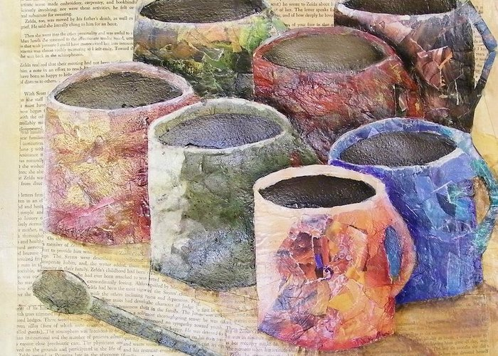Cup Greeting Card featuring the mixed media A Cuppa by Terry Honstead