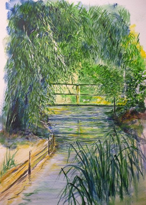 Giverny Greeting Card featuring the painting A Day At Giverny by Lizzy Forrester