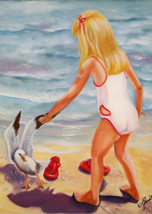 Beach Greeting Card featuring the painting A Day At The Beach by Joni McPherson