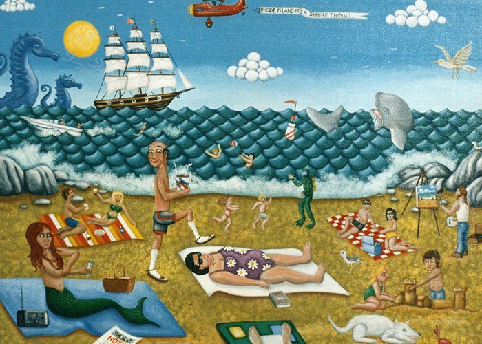 Folk Art Greeting Card featuring the painting A Day At The Beach Missquamicut Rhode Island by Joshua Mac Allistar