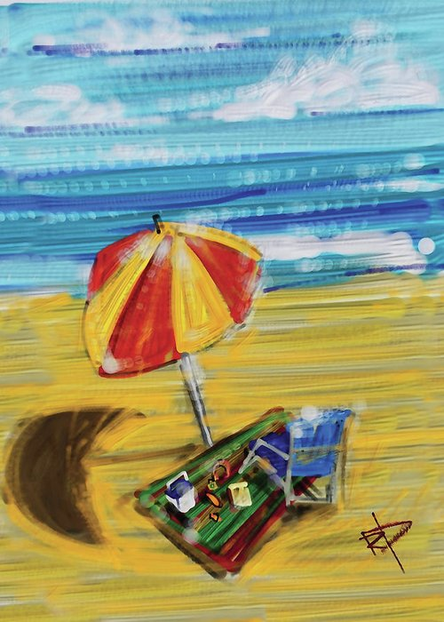 Beach Greeting Card featuring the digital art A Day At The Beach by Russell Pierce