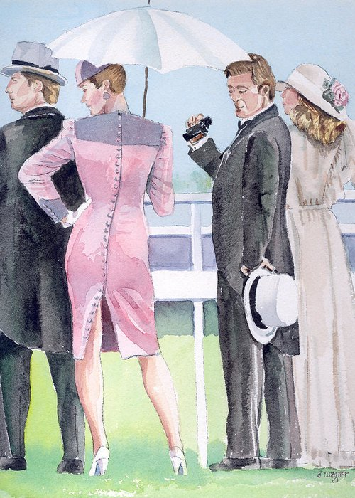 Race Track Greeting Card featuring the painting A Day At The Races by Arline Wagner