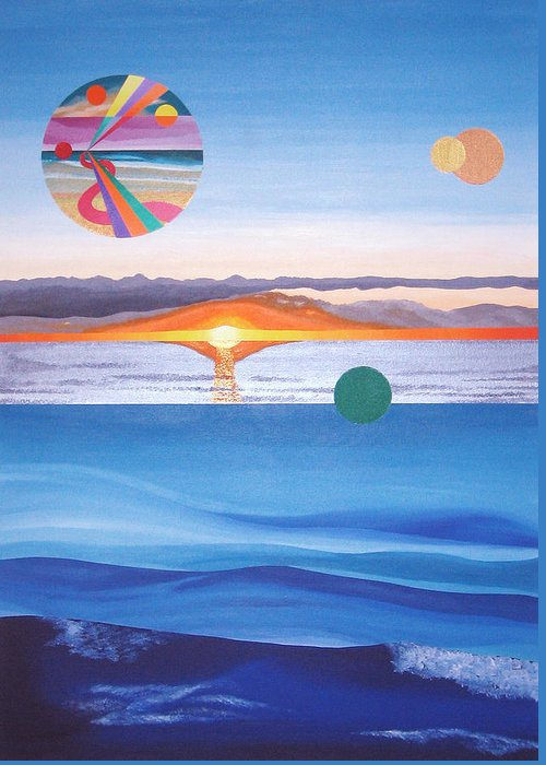 Abstract Greeting Card featuring the painting A Day In December by Eliot LeBow