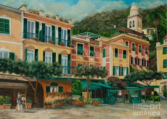 Portofino Italy Art Greeting Card featuring the painting A Day In Portofino by Charlotte Blanchard