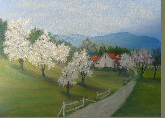Landscape; Spring; Mountains; Country Road; House Greeting Card featuring the painting A Day In The Country by Ben Kiger