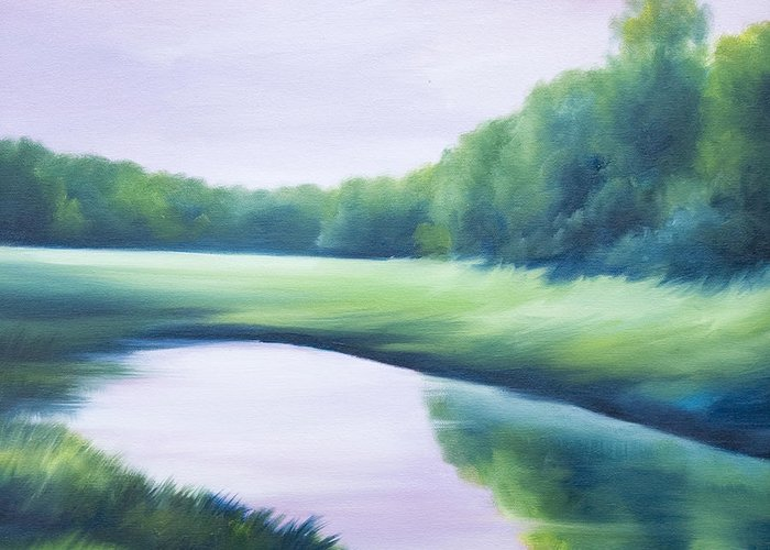 Nature; Lake; Sunset; Sunrise; Serene; Forest; Trees; Water; Ripples; Clearing; Lagoon; James Christopher Hill; Jameshillgallery.com; Foliage; Sky; Realism; Oils; Green; Tree; Blue; Pink; Pond; Lake Greeting Card featuring the painting A Day In The Life 1 by James Christopher Hill