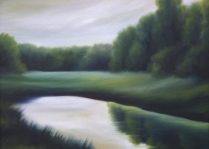 Nature; Lake; Sunset; Sunrise; Serene; Forest; Trees; Water; Ripples; Clearing; Lagoon; James Christopher Hill; Jameshillgallery.com; Foliage; Sky; Realism; Oils; Green; Tree Greeting Card featuring the painting A Day In The Life 3 by James Christopher Hill