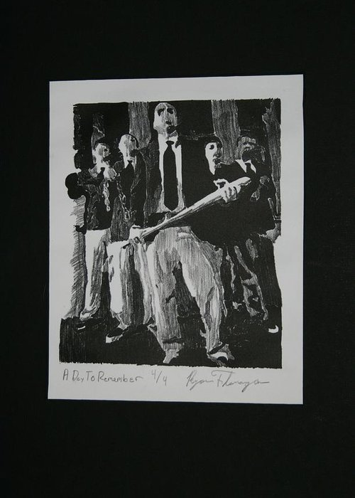 Lithography Greeting Card featuring the relief A Day To Remember by Ryan Flanagan