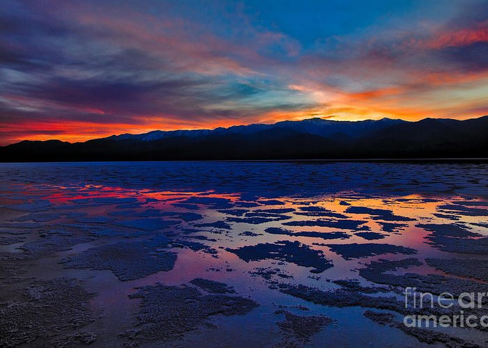 Inhospitable Greeting Card featuring the photograph A Death Valley Sunset In The Badwater Basin by Kim Michaels