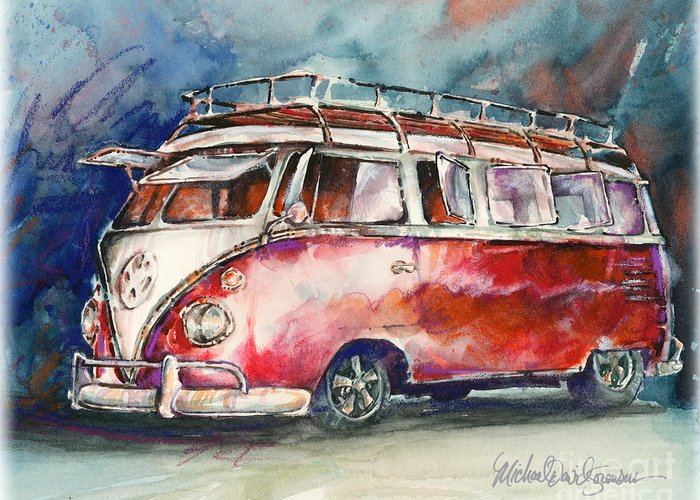 Vw Greeting Card featuring the painting A Deluxe 15 Window Vw Bus by Michael David Sorensen
