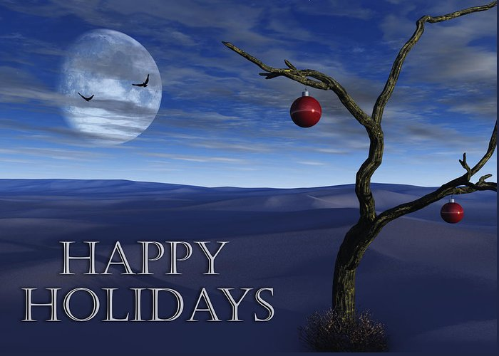 Surreal Greeting Card featuring the digital art A Desert Christmas by Richard Rizzo