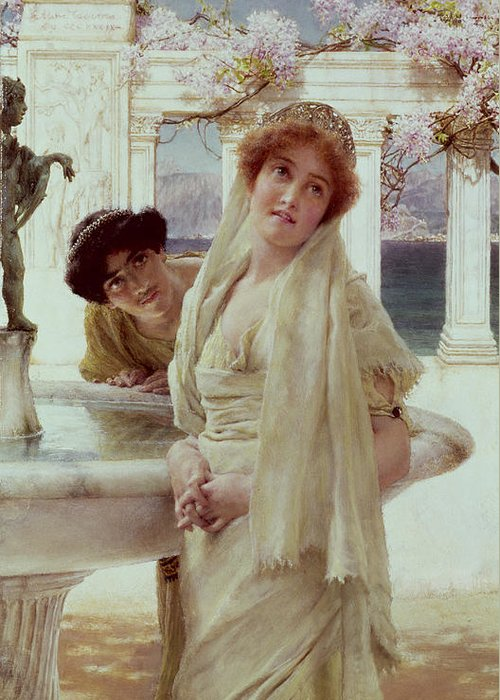 Difference Greeting Card featuring the painting A Difference Of Opinion by Sir Lawrence Alma-Tadema