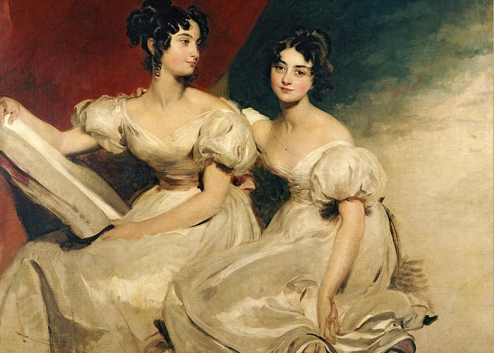 Double Greeting Card featuring the painting A Double Portrait Of The Fullerton Sisters by Sir Thomas Lawrence