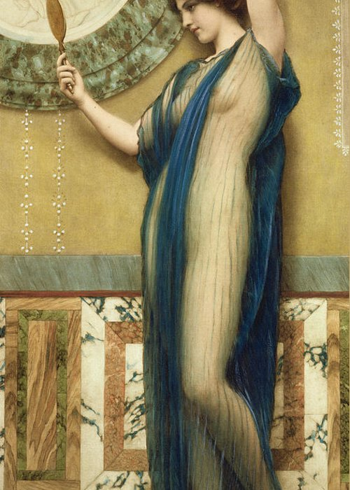 A Fair Reflection (hand Colored Photo-engraving) By John William Godward (1861-1922) (after) Mirror; Marble; Nude; Looking Glass; Female; Classical; Vain Greeting Card featuring the painting A Fair Reflection by John William Godward