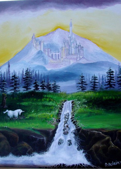 Landscape Greeting Card featuring the painting A Fairytale by Glory Fraulein Wolfe