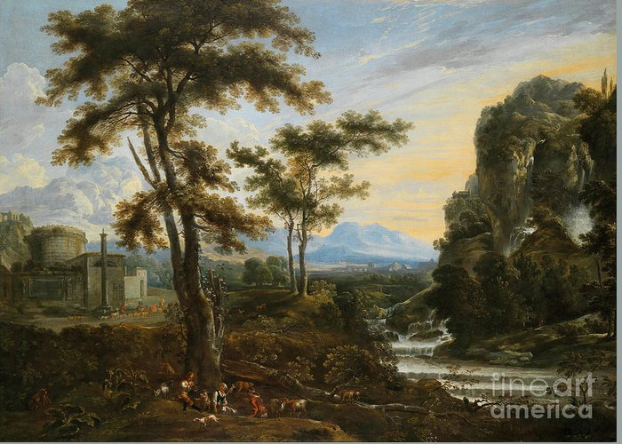 Jan Baptist Wan (1628-1684) A Fantastic Countryside Around Rome Greeting Card featuring the painting A Fantastic Countryside Around Rome by MotionAge Designs