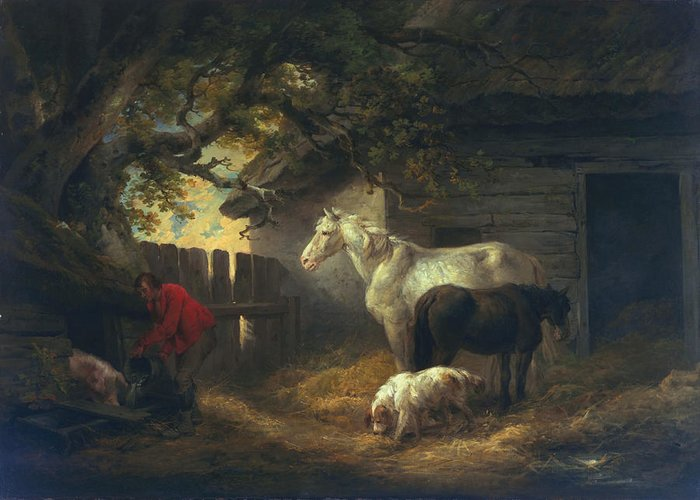 Outdoors Greeting Card featuring the painting A Farmyard by George Morland