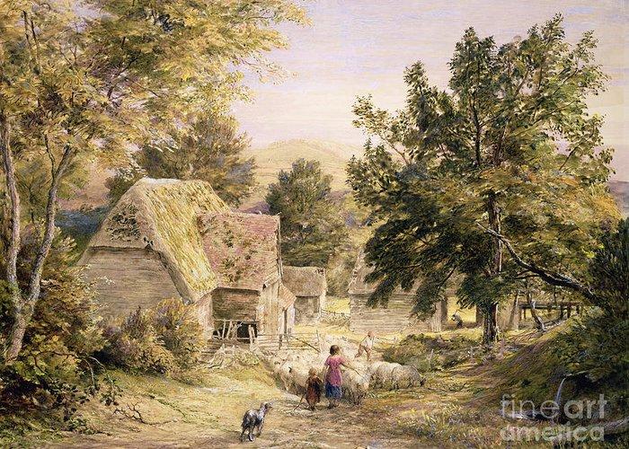 Farmyard Greeting Card featuring the painting A Farmyard Near Princes Risborough by Samuel Palmer