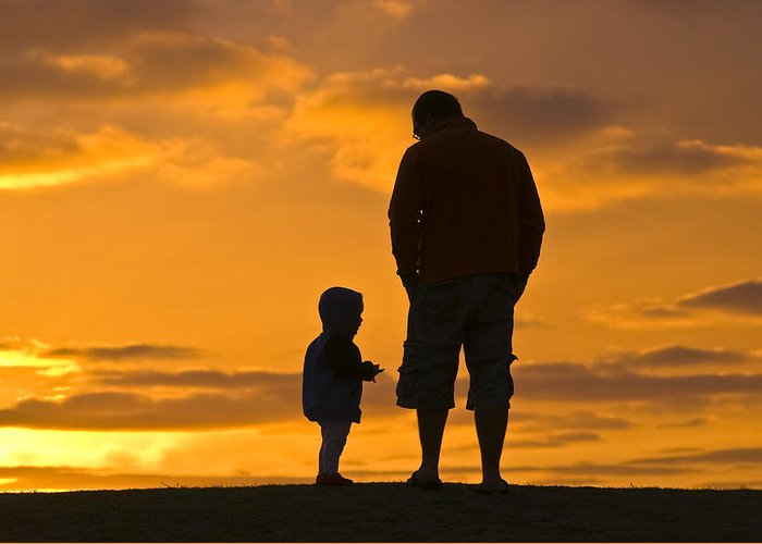 Outdoors Greeting Card featuring the photograph A Father And His Baby Son Watch by Jason Edwards