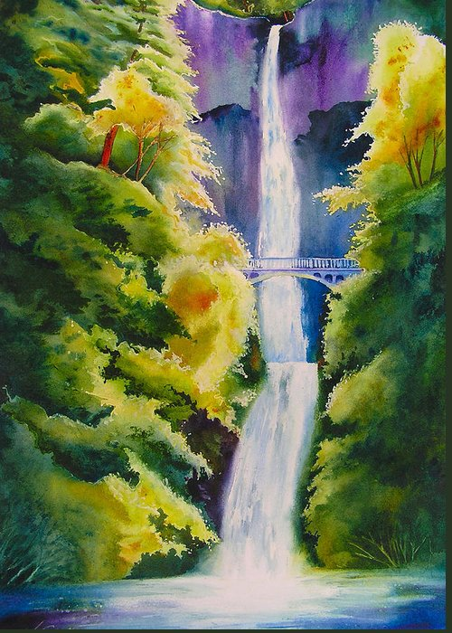Waterfall Greeting Card featuring the painting A Favorite Place by Karen Stark