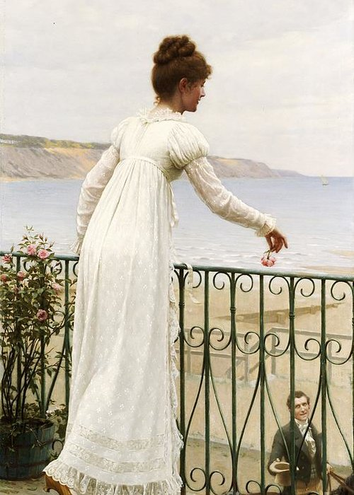 A Favour Greeting Card featuring the painting A Favour by Edmund Blair Leighton