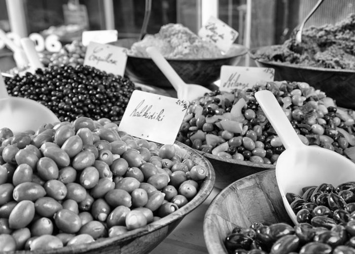 A Feast Of Olives Greeting Card featuring the photograph A Feast Of Olives In Mono by Georgia Fowler