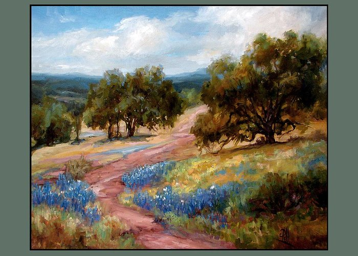 Texas Landscape Hill Country Bluebonnets Greeting Card featuring the painting A Few Bluebonnets by Lilli Pell