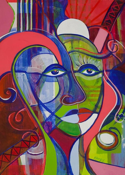 Face Greeting Card featuring the painting A Few Surprises by Rollin Kocsis