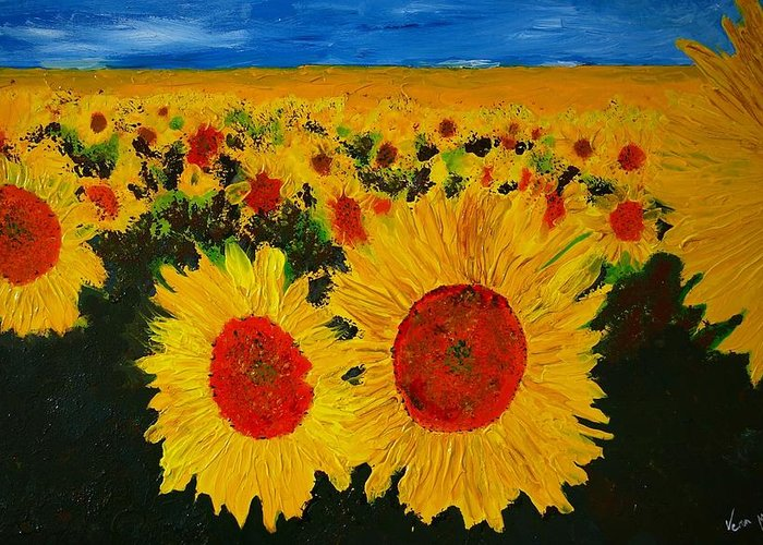 Flowers Greeting Card featuring the painting A Field Of Sunflowers by Veron Miller