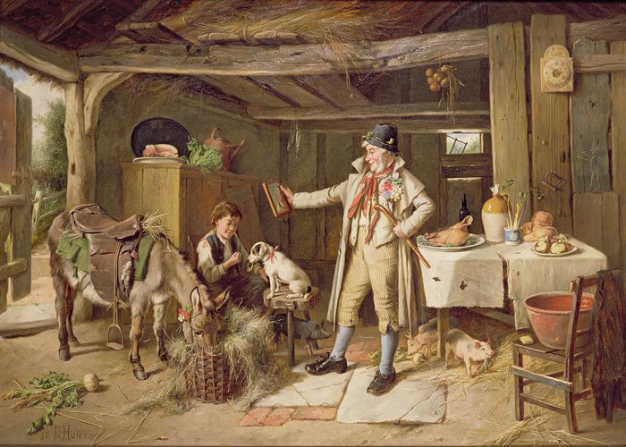 Vanity; Mirror; Walking Stick; Button Hole; Pigs; Pony; Interior; Cottage; Dog; Boy; Bacon; Ham; Pok; Turnip; Hay; Clock; Rustic; Pipe; Indoor; Donkey Greeting Card featuring the painting A Fine Attire by Charles Hunt