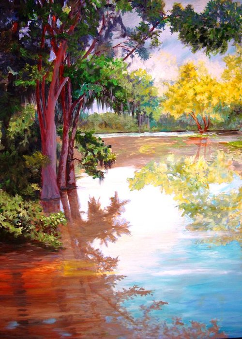 Water Greeting Card featuring the painting A Fine Day by AnnE Dentler
