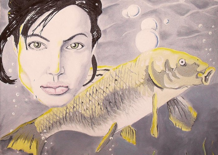 Angelina Greeting Card featuring the painting A Fish Named Angelina by Joseph Palotas