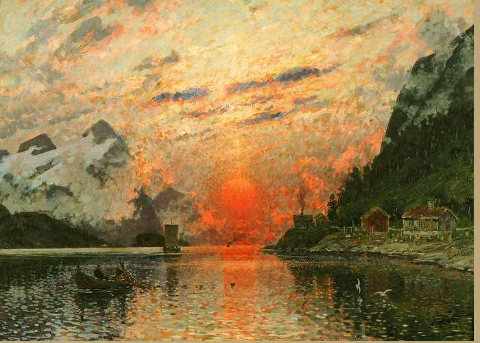 Scandinavia Greeting Card featuring the painting A Fjord by Adelsteen Normann
