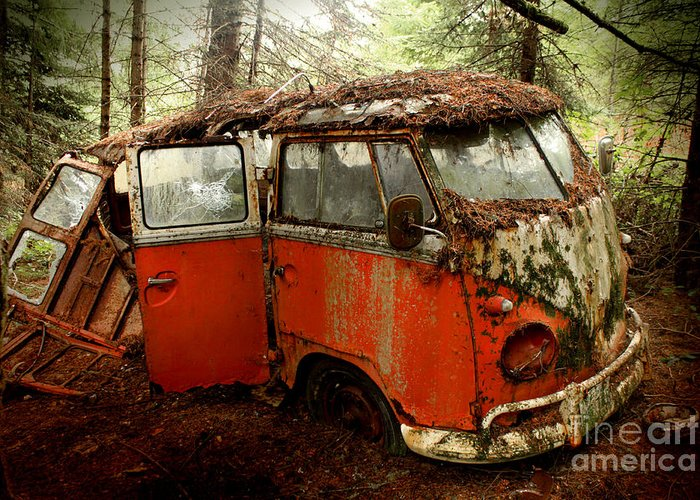 23 Greeting Card featuring the photograph A Forgotten 23 Window Vw Bus by Michael David Sorensen