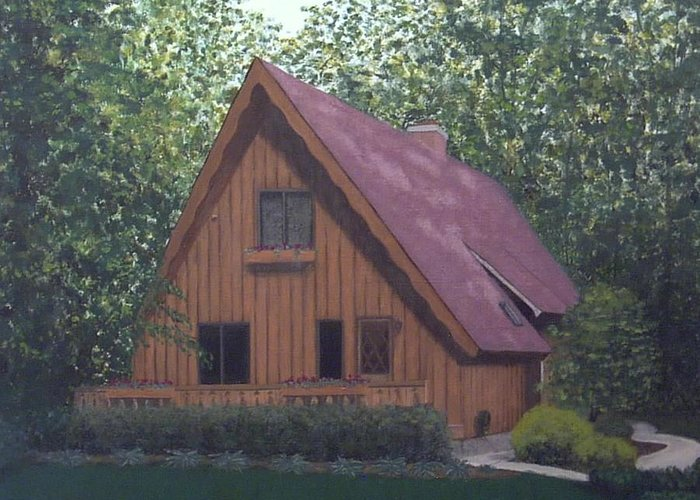 House Landscape Sheboygan Wi Greeting Card featuring the painting A-frame by Sally Van Driest