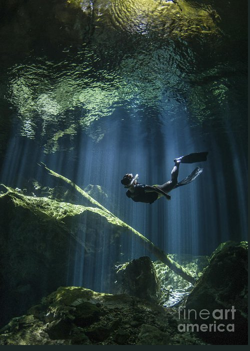 Cavern Greeting Card featuring the photograph A Freediver In Taj Mahal Cenote by Karen Doody