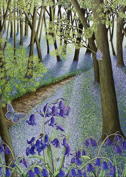 Woods; Flowers; Bluebells; Bluebell; Flower; Tree; Trees Greeting Card featuring the painting A Fresh Start by Pat Scott
