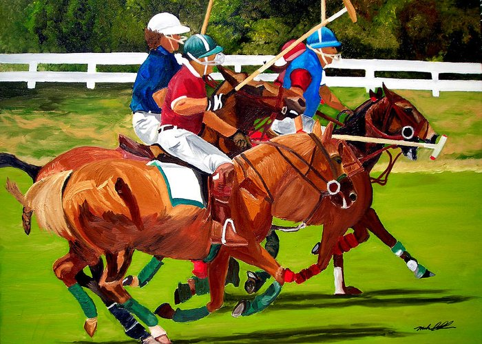 Polo Greeting Card featuring the painting A Game Of Polo by Michael Lee