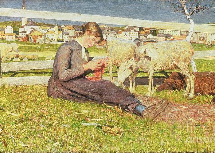 Girl Greeting Card featuring the painting A Girl Knitting by Giovanni Segantini