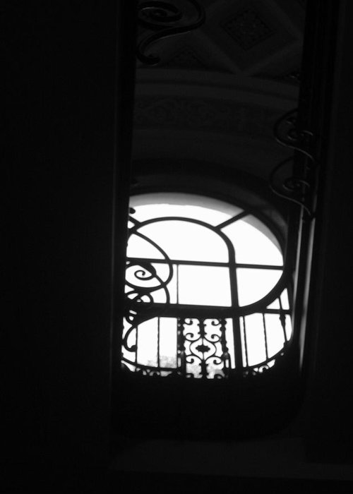 Window Silhouette From A Stairwell Greeting Card featuring the photograph A Glimpse Of Sky by Lindsey Orlando