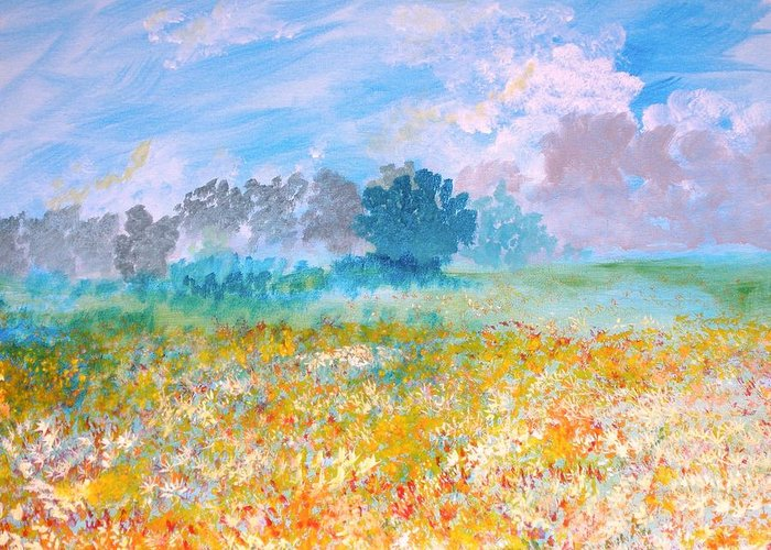 New Artist Greeting Card featuring the painting A Golden Afternoon by J Bauer