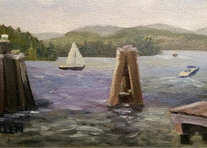 Boats Greeting Card featuring the painting A Good Day for Boating by Sharon E Allen