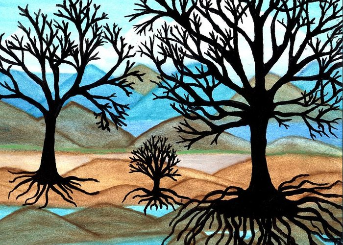 Black Trees Greeting Card featuring the painting A Good Foundation by Connie Valasco