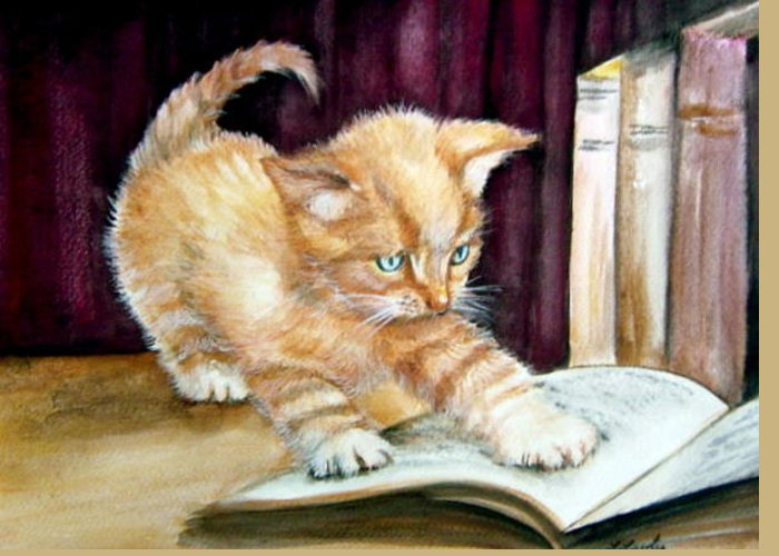 Kitten Greeting Card featuring the painting A Good Read by L Lauter