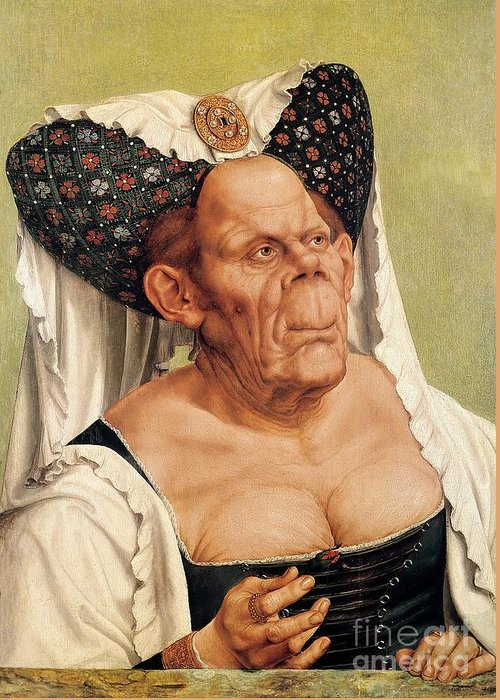 Grotesque Greeting Card featuring the painting A Grotesque Old Woman by Quentin Massys
