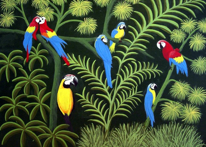 Macaws Greeting Card featuring the painting A Group Of Macaws by Frederic Kohli